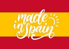 Robić W Hiszpania, wektorowy ręki literowanie Kaligraficzna inskrypcja na hiszpańszczyzny chorągwianym tle Obrazy Stock