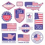 Robić w usa logu Amerykańska dumna patriota etykietka, fabrykujący dla usa etykietki stemplowej i zlanych stanów patriotycznych A ilustracja wektor