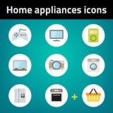 Robić zakupy domowych urządzeń ikony płaskiego set Obrazy Stock