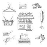 Robić zakupy i detaliczne nakreślenie ikony royalty ilustracja