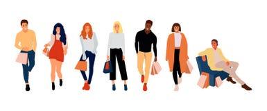 Robić zakupy ludzi z torbami ilustracja wektor