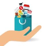 Robić zakupy online projekt, wektorowa ilustracja Zdjęcia Stock