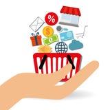 Robić zakupy online projekt, wektorowa ilustracja Fotografia Royalty Free
