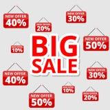 Robić zakupy specjalne oferty, rabaty i promocje, duża sprzedaż ilustracja wektor