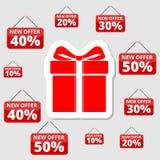 Robić zakupy specjalne oferty, rabaty i promocje, prezenta pudełko ilustracji