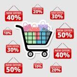 Robić zakupy specjalne oferty, rabaty i promocje, wózek na zakupy ilustracja wektor