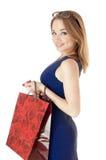 Robić zakupy szczęśliwej dziewczyny Zdjęcia Stock
