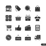 Robić zakupy & Targowe ikony ustawiamy - Wektorową ilustrację Zdjęcia Royalty Free