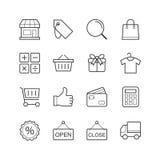 Robić zakupy & Targowe ikony - Wektorowa ilustracja, Wykłada ikony ustawiać Obrazy Royalty Free