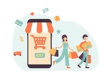 Robić zakupy telefon doręczeniowego, procent, karciany, jak royalty ilustracja