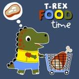 Robić zakupy z śliczną Dino kreskówką ilustracja wektor