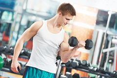 Robi bicepsom Bodybuilder mężczyzna muscle ćwiczenia Obraz Stock