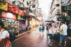 Robiący zakupy na droga na grobli zatoce w Hong Kong, Chiny Obraz Stock