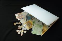 Robi pieniądze online w torbie Fotografia Royalty Free
