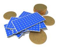 Robi pieniądze z panel słoneczny wytwarzać elektryczność ilustracja wektor