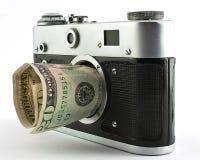 Robi pieniądze z sprzedawanie fotografią obraz stock