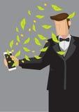 Robić pieniądze na Mobilnej Wektorowej ilustraci Zdjęcie Stock