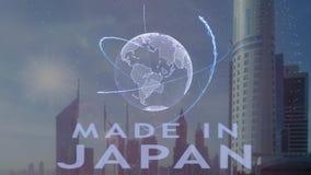 Robi? w Japonia tekscie z 3d hologramem planety ziemia przeciw t?u nowo?ytna metropolia royalty ilustracja
