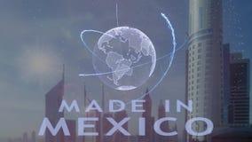 Robi? w Meksyk tekscie z 3d hologramem planety ziemia przeciw t?u nowo?ytna metropolia ilustracji