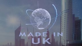 Robi? w UK tekscie z 3d hologramem planety ziemia przeciw t?u nowo?ytna metropolia ilustracja wektor