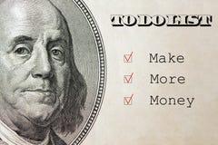 Robi Więcej pieniądze wewnątrz Robić liście, biznesowy pojęcie na dolarowym tle Obrazy Royalty Free