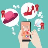 Robić zakupy online na walentynki royalty ilustracja