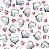 Robijn en Diamond Gem Hearts Seamless Pattern Stock Afbeeldingen