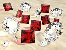 Robijnen en diamanten Stock Afbeelding
