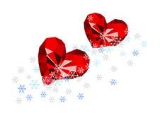 Robijnrode harten in de sneeuw Stock Fotografie