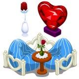 Robijnrode harten, meubilair, lijst en kostbare rozen royalty-vrije illustratie