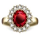 Robijnrode ring Royalty-vrije Stock Fotografie