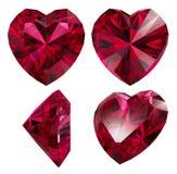 Robijnrode rode geïsoleerde hartvorm Stock Afbeeldingen
