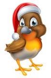 Robin Bird en Santa Christmas Hat illustration de vecteur