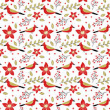 Robin bird and floral Christmas pattern Royalty Free Stock Photo