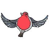 Robin Bird rosso adorabile sveglio Isolato su un vettore disegnato a mano di schizzo del fondo del fumetto bianco di scarabocchio Fotografie Stock