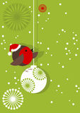 Robin and Christmas Bauble Stock Photo