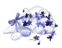 Robin eggs and violets. Are drawn in Illustrator gradient mesh to create an effect of watercolor drawing Stock Images
