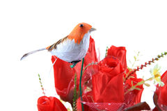 Robin on flowers royalty free stock photography