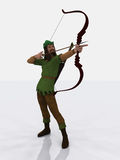 Robin Hood. Digital render of the famous English outlaw, Robin Hood, taking aim with bow and arrow Stock Photos
