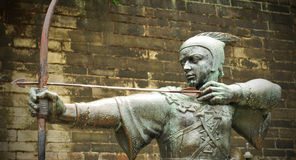 Robin Hood. Detail of the famous statue of Robin Hood in front of Nottingham Castle in England Royalty Free Stock Image