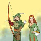 Robin Hood aiming on target. Medieval legends. Heroes of medieval legends. Lady in medieval dress. Robin Hood aiming on target. Young soldier. Defender of weak Stock Photography