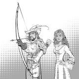 Robin Hood aiming on target. Medieval legends. Heroes of medieval legends. Lady in medieval dress. Robin Hood aiming on target. Young soldier. Defender of weak Stock Image