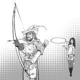 Robin Hood aiming on target. Medieval legends. Heroes of medieval legends. Lady in modern dress. Robin Hood aiming on target. Young soldier. Defender of weak Stock Photo