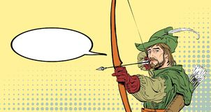 Robin Hood aiming on target. Robin Hood standing with bow. And arrows. Robin Hood in a hat with feather. Young soldier. Noble robber. Defender of weak. Medieval Royalty Free Stock Image