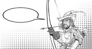 Robin Hood aiming on target. Robin Hood standing with bow. And arrows. Robin Hood in a hat with feather. Young soldier. Noble robber. Defender of weak. Medieval Stock Images