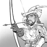 Robin Hood aiming on target. Robin Hood standing with bow and arrows. Defender of weak. Medieval legends. Heroes of. Robin Hood aiming on target. Robin Hood Stock Image