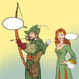 Robin Hood aiming on target. Medieval legends. Heroes of medieval legends. Lady in medieval dress. Robin Hood aiming on target. Young soldier. Defender of weak Royalty Free Stock Photos