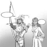 Robin Hood aiming on target. Medieval legends. Heroes of medieval legends. Lady in medieval dress. Robin Hood aiming on target. Young soldier. Defender of weak Stock Photos