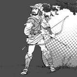 Robin Hood anseende med pilbågen och pilar Robin Hood i bakhåll Försvarare av svagt Medeltida legender Hjältar av medeltida Arkivbild