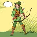 Robin Hood anseende med pilbågen och pilar Robin Hood i bakhåll Försvarare av svagt Medeltida legender Hjältar av medeltida Arkivbilder
